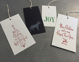 Blizzard Letterpress Christmas gift tags